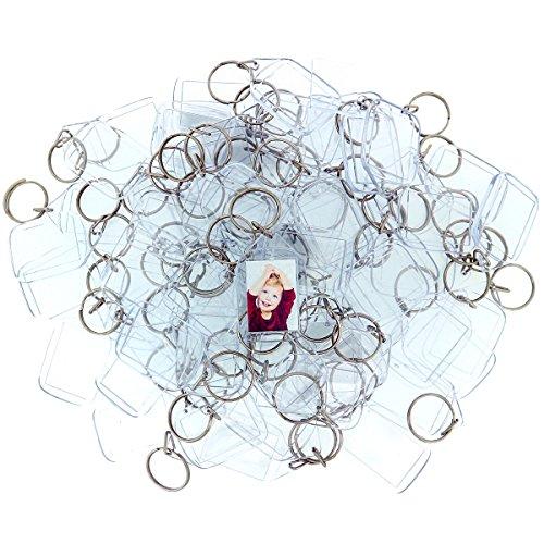 200 Llaveros con Marco para Fotos Acrílico Transparente por Kurtzy - Llavero en Blanco de 3,2 x 5,4 cm - Llavero Apto para Billetera para Insertar Fotos Personalizadas - Apto para Hombres y Mujeres