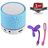 Rextan S10 Wireless Bluetooth Speaker With Tf Card & Fm Support Built In Mic For Handfree Calling With Portable USB Fan And Flexible USB Light Suitable For Apple & Android Devices
