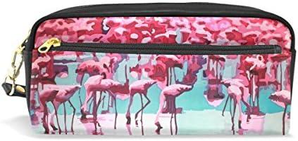 COOSUN Peinture Flamingos étudiants Grande capacité PU Cuir Trousse école Pen Sac Pochette Fixe Makeup Case Sac cosmétique Grand Multicolore B075KMM1B3 | à Gagnez Un Haut Admiration