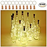 LED-Flasche Lichter mit Kork 2M mit 20 LED Kupferdraht Lichterketten für Flasche DIY Dekor, Outdoor BBQ, sammeln, Party, Hochzeit, Urlaub (Warmweiß) (10er Pack)