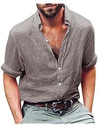 ALIKEEY Camisas Lino Tradicionales para Hombres Manga Corta con Cuello  Casual Blusa Suelta Camisetas Sueltas Cool 6aba6377bd7