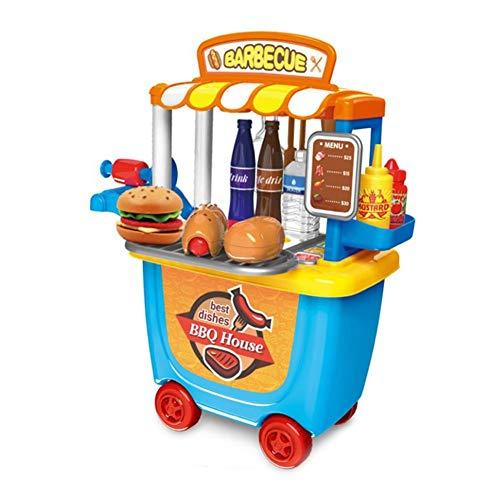 bitcircuit Play House Kleiner Supermarkt Toy Trolley Car Barrel Barbecue Barbecue Trolley Geburtstag Weihnachten Geschenk für Jungen Mädchen A (Bar-b-ques)