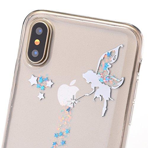 Custoida per iPhone 10 , Custoida per iPhone X ,Bonice Crystal Clear Glitter di Bling Custodia Ultra Slim Morbido TPU Gel Silicone Trasparente Protettivo Skin Protettiva Shell Bumper Case Cover Anti S Bling-Cover-03