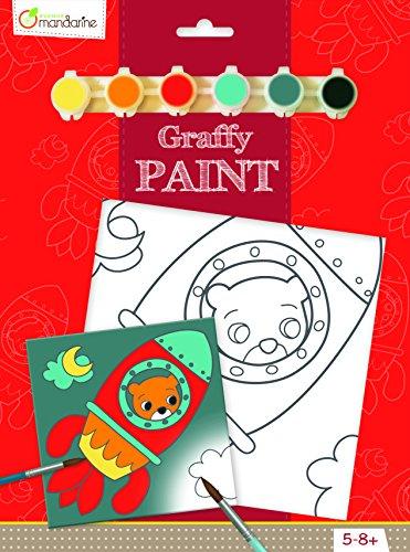 Avenue Mandarine PP017O Ausmalset Graffy Paint, mit 1 vorgezeichnete Leinwand 20 x 20 cm, 6 Farbtuben und 1 Pinsel, ideal für Kinder ab 4-5 Jahren, 1 Set, Bär