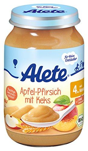 Alete Bio Apfel-Pfirsich mit Keks, 6er Pack (6 x 190 g)