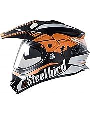 Steelbird SBH-13 Bang Airborne 600mm with Plain Visor Full Face Helmet (Orange and Black, L)