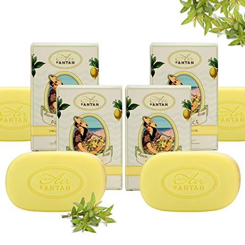 Provence Grün Butter Seife (Un Air d'Antan 4er Set (1 Seife GRATIS) - Stückseife mit Bio Ölen Provence - Parfum Verbena, Bergamotte, Zitrone - Für Männer und Frauen - Für Sie oder als Geschenke - Angebote 4er Pack (4x100g Seife))