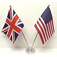 Union Jack GB & STATI UNITI America Amicizia Bandiere Cromato & Set Bandiere Da Tavolo E Scrivania In Raso