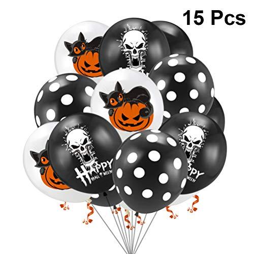 Toyandona Halloween-Luftballon-Set mit Totenkopf, Katze, Kürbis und schwarzen Punkten, Latexballon, für Halloween, Party, Geburtstag, Babyparty, Dekoration (Halloween-kürbisse, Katze Schwarze)