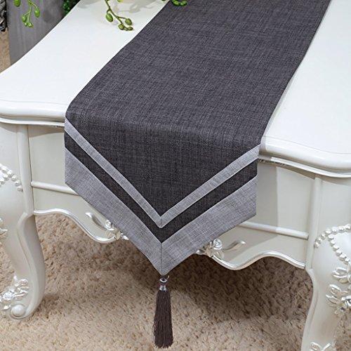 BSNOWF-Chemin de table Table Runner Classique Rétro Table Basse Tissu Solide Couleur Lin Style Minimaliste Moderne ( Couleur : Gris foncé , taille : 33*180cm )