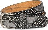 styleBREAKER Vintage Nietengürtel mit glitzerndem Strass und Nieten in runder Anordnung, Damen 03010066, Farbe:Antik-Grau;Größe:100cm