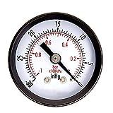 Justdodo 1-1/2'Dry Utility Mini Vacuum Pressure Gauge.Steel 1/4' Center Back, 30HG / 0PSI Instrumentos de medición para probadores de presión- Blk.Steel 1/4'Center Back-10