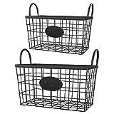 2er Set schwarze Metallkörbe mit praktischen Tragegriffen. Stabil und edel. Deko-Korb. Zeitungskorb. Aufbewahrungskorb. Kaminkorb