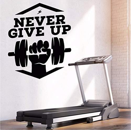 Preisvergleich Produktbild Wmbz Vinyl Wandtattoo Fitnessstudio Fitness Geben Sie niemals Motivation Words Aufkleber 47X56Cm auf