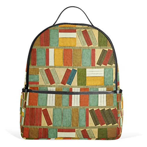 COOSUN Vintage Bücherregal-Schule-Rucksack Leichte Canvas-Buch-Tasche für Junge Mädchen Kinder Multi (Kinder Verstellbare Bücherregale)