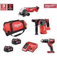 Milwaukee Kit 18V MWK183AP2 (HD18AG125 + M18CHX + M18BPD + 2 x 5,0Ah + M12-18C + Bolsa XL)