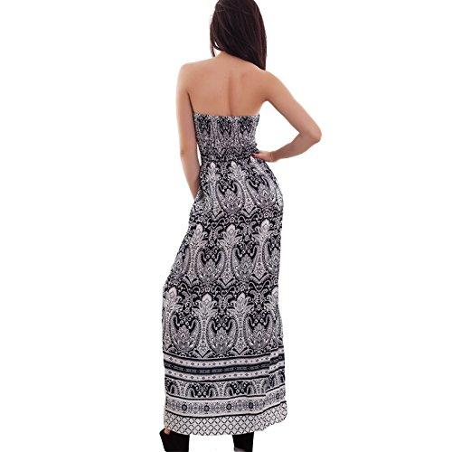 Toocool - Abito donna lungo bandeau fantasia vestito estivo copricostume nuovo 313 fantasia 2 blu