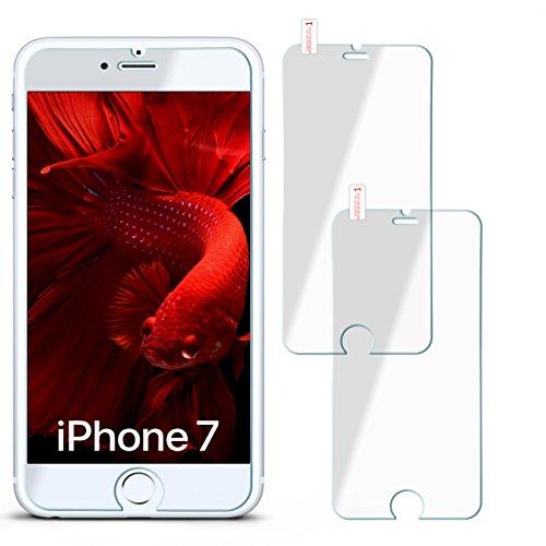 2x OneFlow 9H Panzerfolie für iPhone 8 / 7 Panzerglas Display Glasfolie [Tempered Glass] Screen protector Glas Displayschutz-Folie für iPhone 8 / 7 Schutzfolie - Display gewölbt, Folie bewusst kleiner
