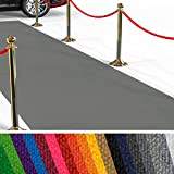 etm Hochwertiger Messeteppich Meterware | Rollteppich VIP Eventteppich, Hollywood Läufer, Hochzeitsteppich | 18 Farben in 23 Größen | Hellgrau - 100x300 cm