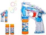 ISO TRADE Seifenblasenpistole LED-Lichtpistole incl. 2x50ml Seifenblasen Flüssigkeit Ohne Batterien Bubble Gun 8676