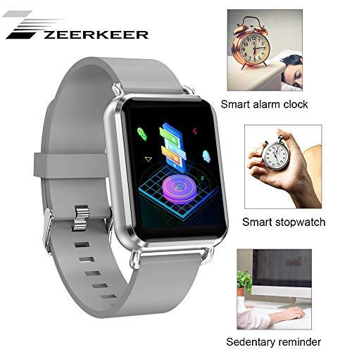 ZEERKEER Smartwatch, Sportarmband Fitness Track Blutdruck Herzfrequenz Schlafüberwachung Textanruferinnerung Langlebigkeit Batterien APP Whatsapp/Facebook/Twitter (Leather, Silber) -