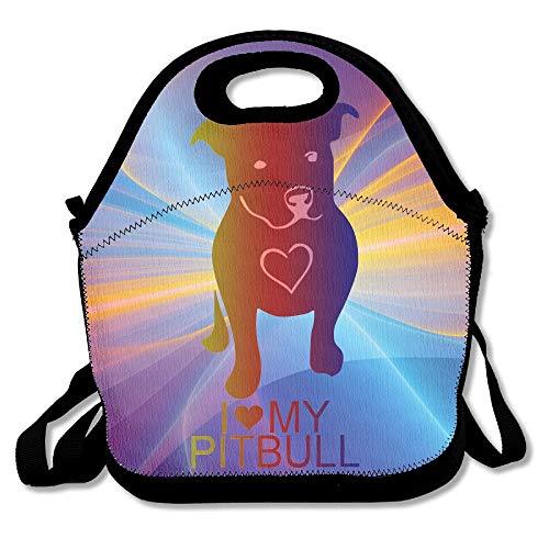Pet Pitbull Love Neopren-Lunchtasche, Lunchbox für Damen, Kinder, Erwachsene (Für Blau-gurt Pitbulls)