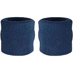 Suddora - Muñequeras, algodón, 2 unidades Azul azul marino
