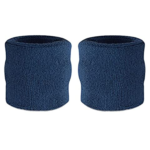 Suddora Wrist Sweatband - Athletic Cotton Terry Cloth Wristband For Sports (Pair) (Navy)