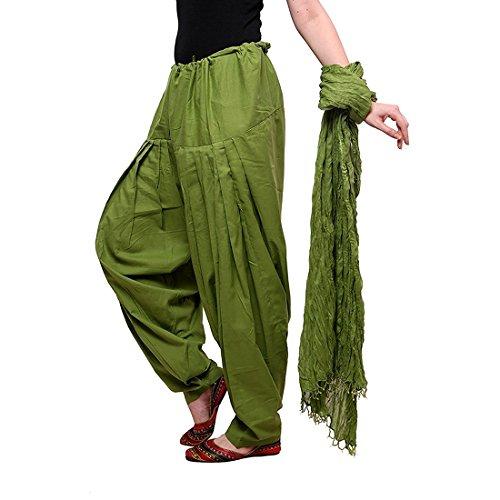 Women Cotton Solid Full Patiala Salwar Dupatta Set (Stmapa078604 _Green _Free Size)