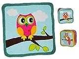 2 Stück: Waschflecke - Eulen - Magic Towel Waschlappen - 100 % Baumwolle / - Seifentuch Seifenlappen - Frottee Eule für Baby + Kinder + Erwachsene - magisches Tuch - Seiftuch