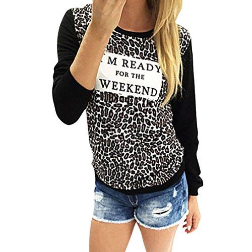 FEITONG Damen Leopard Druck Bluse Langarm Rundhals Pullover Tops T-Shirt (L, Schwarz) (Leopard Pullover)