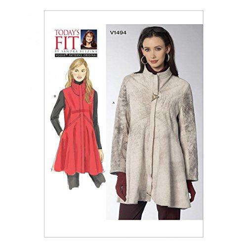 Vogue Damen Schnittmuster 1494High Neck Hohe Taille Mantel und Weste + Gratis Minerva Crafts Craft Guide