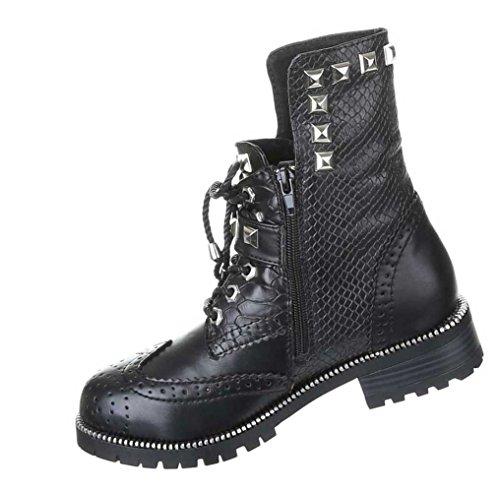 Gothic Stiefeletten Damen Schuhe Stiefel Punker Boots Warm Gefüttert Schwarz 36 37 38 39 40 41 Nr 8 Schwarz