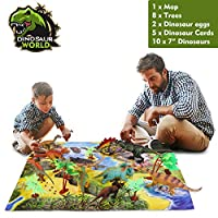 """ARANEE Dinosaur Toys Realistic Looking 7"""" (18 cm) 26 Pcs With Trees, Dinosaur Eggs, Learning Cards And Play Mat"""