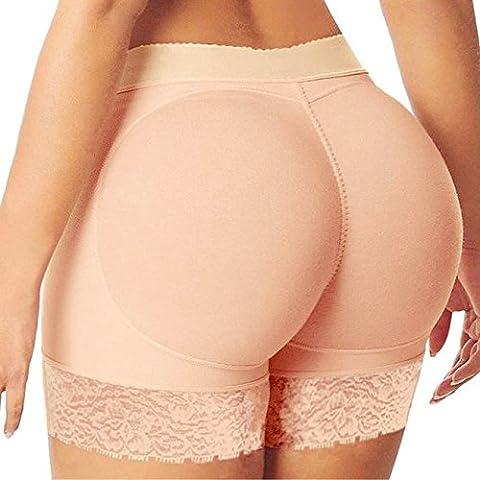 Rameng Femme Rembourré Push Up Fesses Slip Invisible Butt Lifter Enhancer Panty (XL/40, Beige)
