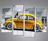 islandburner Bild Bilder auf Leinwand Käfer Kult Auto Beetle 4er XXL Poster Leinwandbild Wandbild Dekoartikel Wohnzimmer Marke