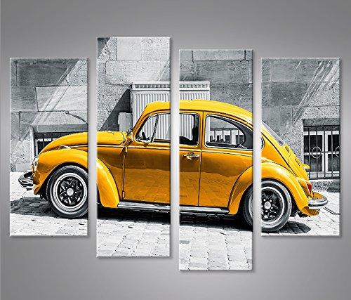 Bild Bilder auf Leinwand Käfer Kult Auto Beetle 4er XXL Poster Leinwandbild Wandbild Dekoartikel Wohnzimmer Marke islandburner (Kult Poster)