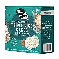 WiseCrack Organic Mini Triple Rice Cakes (Black + RED + Brown) - Whole Grain Puffed Cracker, Oil Free, NO Added Sugar, Crispy Healthy Snacks. (45g X 4) - 45 Rice Cakes PER Box