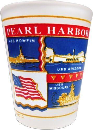 Pearl Harbor Shot Glass Glass Glass 2 Oz. by KC HAWAII de89fc