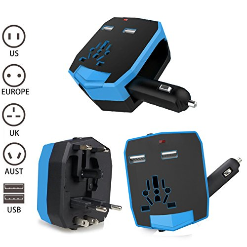 KINDEN Travel Adaptor Universal AC International Armour Worldwide Power Charger Wall Adapter Plug (US/EU/UK/AU) with 2.5A Dual USB Charging Ports and Car Charger (Blue)