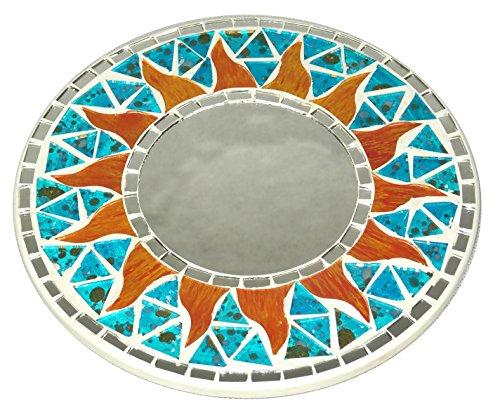 Mosaico Espejo sol mosaico turquesa azul hielo 20cm madera Craft sol mosaico Espejo