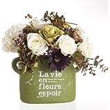 Composizione di fiori artificiali, rosa, pierre-Vaso di altezza 36 cm