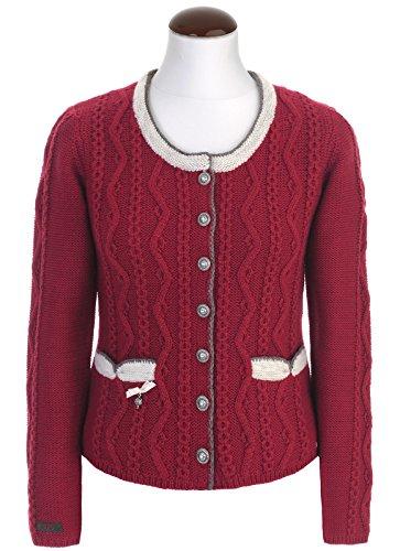 Spieth & Wensky - Damen Trachten Strickjacke mit Rundhalsauschnitt in verschiedenen Farben, Dorle (260900-1003), Größe:M;Farbe:Rot/Natur (4815)