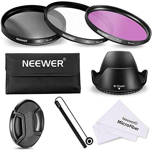 Neewer Filtro de 55 mm de la Lente Kit de Accesorios para Canon Nikon Sony Samsung Fujifilm Pentax: UV/CPL / FLD Filtro, la Bolsa, la Capilla de Lente, Tapa del Objetivo, paño de Limpieza