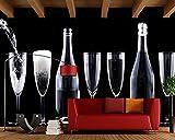 HONGYAUNZHANG Schwarz-Weiß-Weinflasche Muster Benutzerdefinierte Fototapete 3D Stereoskopische Wandbild Wohnzimmer Schlafzimmer Sofa Hintergrund Wandbilder,260Cm (H) X 340Cm (W)