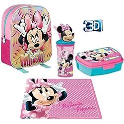 Super Set Zaino Zainetto Minnie Mouse Topolina in 3D Portamerenda Asilo,Scuola Materna Bambini