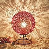 EXQULEG Hanf Ball kleine Tischlampe Schlafzimmer kreative LED Massivholz Schnur Rattan Ball Tisch Lampe Ball kleine Tischlampe USB Nachtlicht (Rot)