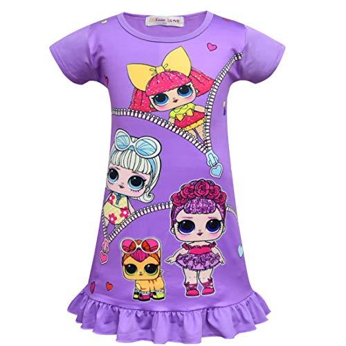 QYS Die Pyjama Party Girls LOL Überraschung Night Dress Nighty Nachthemd Pink Dress Pagent Theme,Purple,100cm (Pagent Kleider Für Kinder)