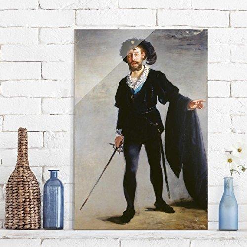 d - Kunstdruck Edouard Manet - Der Sänger Jean-Baptiste Faure als Hamlet - Hoch 3:2, Wandbild Glas Bild Druck auf Glas Glasdruck, Größe HxB: 60cm x 40cm (Hamlet Kostüme)