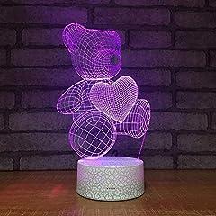 Idea Regalo - 7 Colori Adorabili Orso Cuore 3D Luce Notturna A Led, Lampada Da Tavolo A Led Lampada Da Tavolo A Forma Di Fumetto Lampada Da Comodino Per Bambini Regalo Di Natale